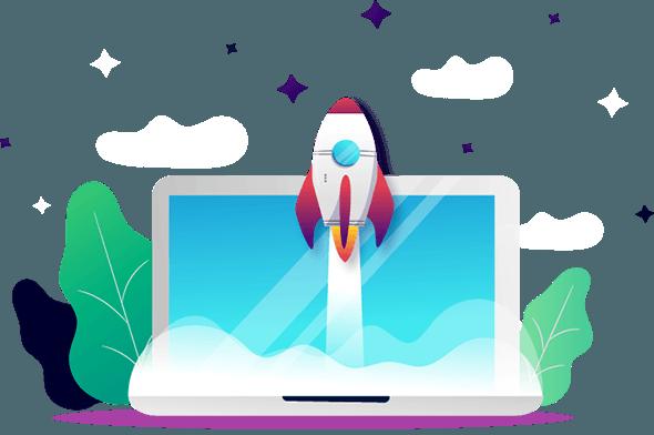 Rakete auf Webdesign