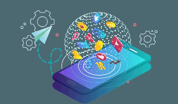 Smartphone mit Logo und Visitenkarten