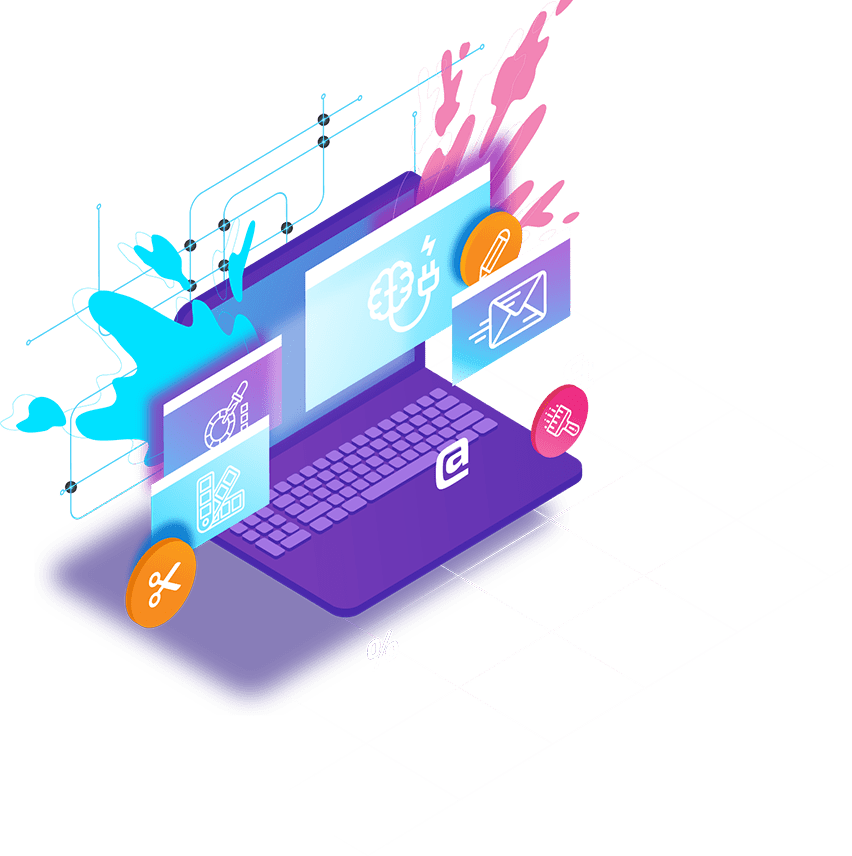 Webdesign am Laptop